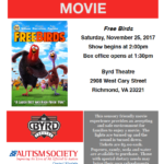 Sensory Friendly Movie at The Byrd Theater this Saturday, 11/25/2017