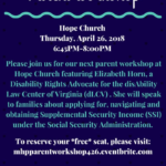 MHP Hosts Free Parent Workshop: Navigating Supplemental Security Income