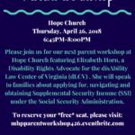 MHP Hosts Free Parent Workshop: Navigating Supplemental Security Income