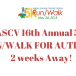 ASCV 16th Annual 5K RUN/WALK FOR AUTISM is 2 weeks Away!