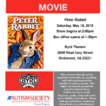 ASCV's Sensory Friendly Movie at The Byrd Theatre: PETER RABBIT