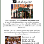 Please join Medical Home Plus for dinner next Thursday, December 13th at The Berkeley Hotel!