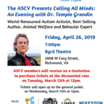 ASCV Presents An Evening with Dr. Temple Grandin