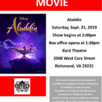 ASCV's September Sensory Friendly Movie at The Byrd Theatre: Aladdin