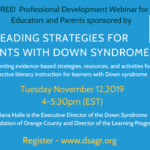Free Webinar – Reading Strategies For Students With Down Syndrome