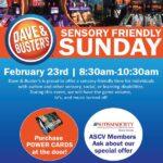 Dave & Buster's Sensory Friendly Sunday February 23, 2020