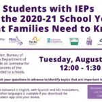 Webinar- Students with IEPs and the 2020-21 School Year- 8/11/20